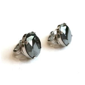 Vtg Mid Century Hematite Clip On Earrings Jewelry